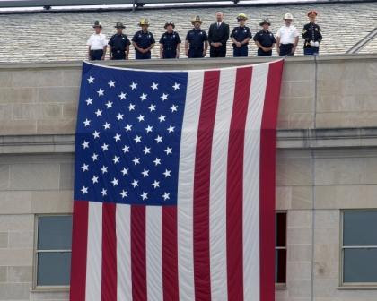 display of the American flag, at dedication of September 11th memorial, Pentagon,  2008.